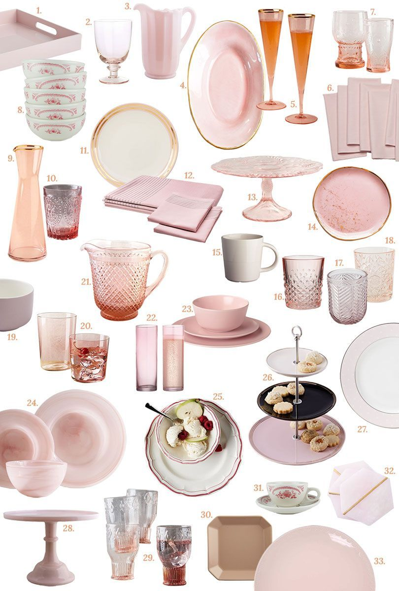 Pink Tabletop Glasses Dishes And Dinnerware Serving Pieces And More Making It Lovely Pink Kitchen Decor Pink Tabletop Pink Kitchen