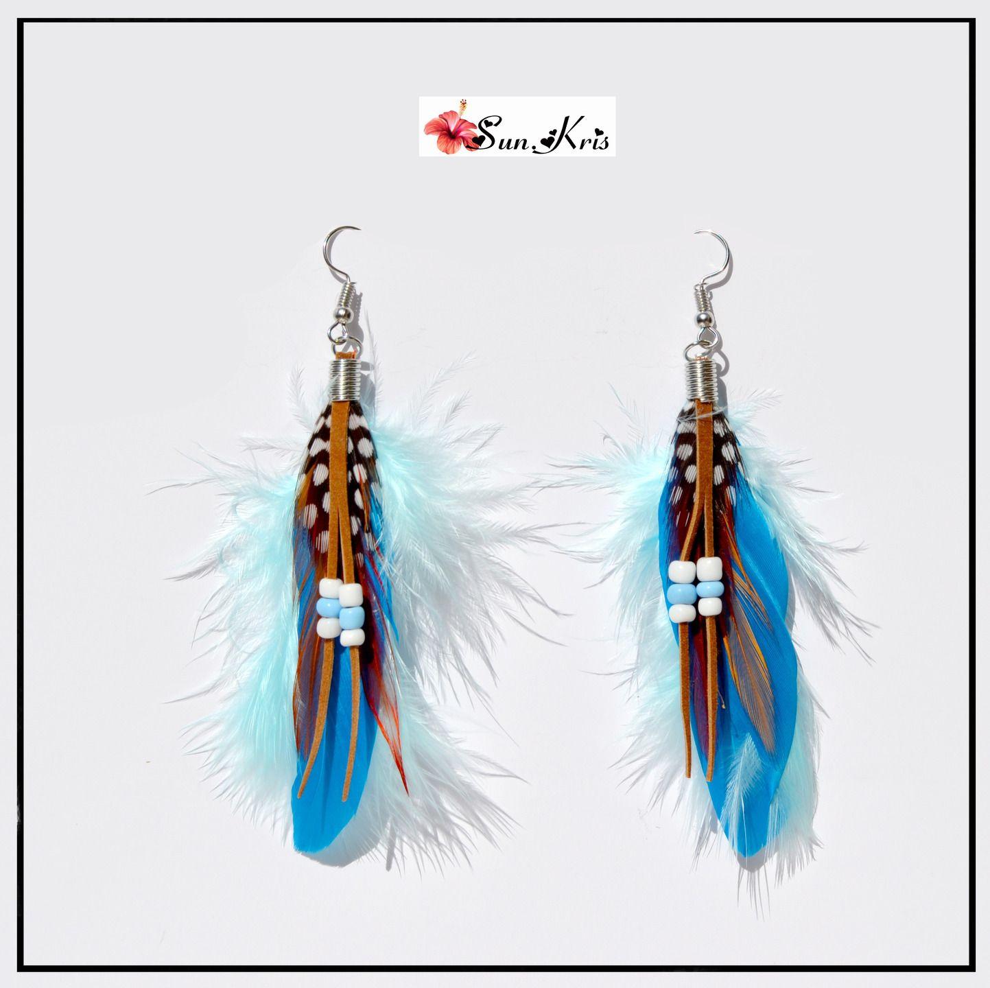 Boucles d'oreilles plumes et perles style indiennes, modèle apache, plumes bleues turquoises ...