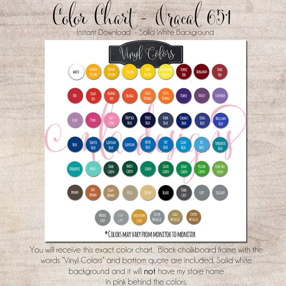 Color Chart Oracal 651 - Vinyl Color Chart - Use in Your