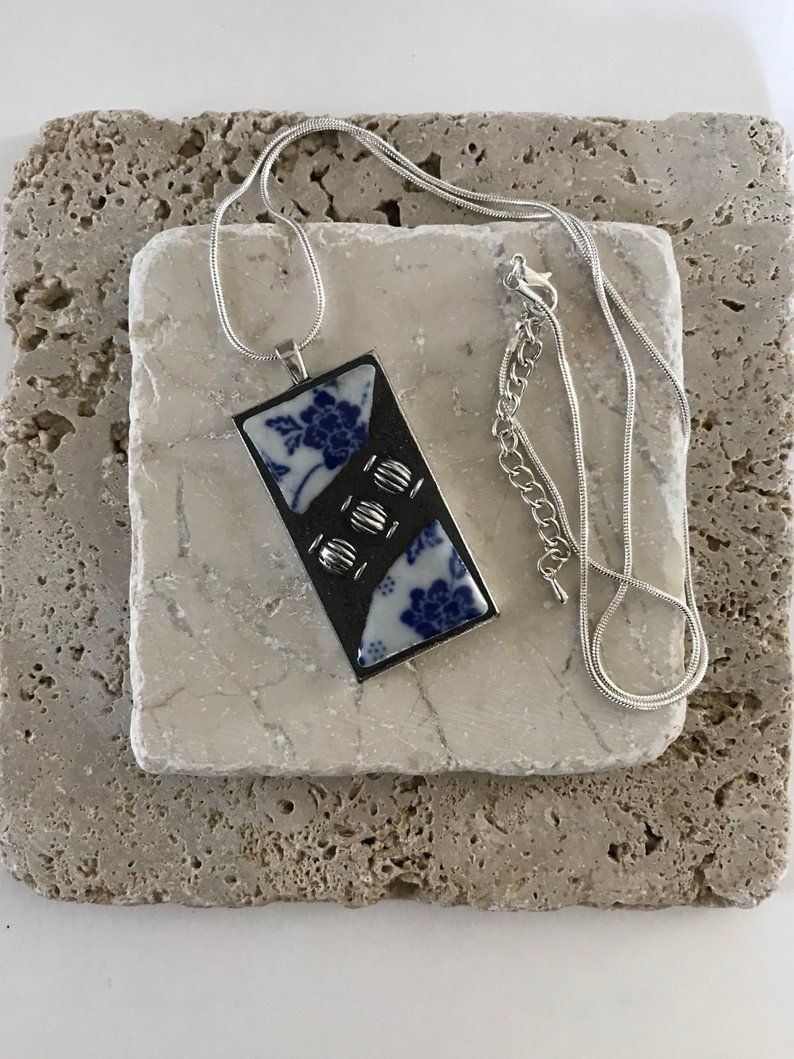 BROKEN CHINA PENDANT, Blue Flower Necklace, Ceramic Pendant Necklaces With Hand Painted Tiles, Mother Gift from Son, Bestseller Jewelry,  #Bestseller #Blue #broken #Ceramic #China #diysilvernecklake #Flower #Gift #Hand #Jewelry #Mother #Necklace #Necklaces #Painted #Pendant #Son #Tiles