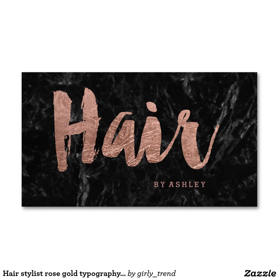 Hair stylist rose gold typography black marble business card ...
