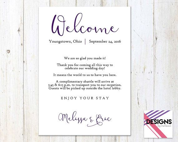 Hotel Welcome Card Wedding Welcome by DesignsByMelissaInc Wedding