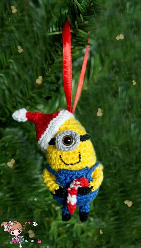 crochet minion christmas ornament - Minion Christmas Ornament