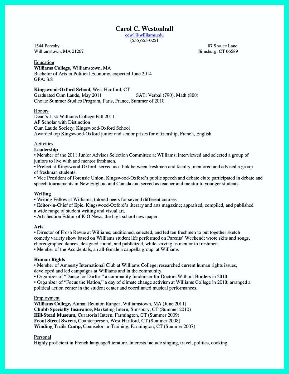 Awesome The Perfect College Resume Template To Get A Job,