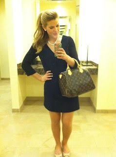 J. Crew suiting dress, Ivanka Trump bow flats, Louis Vuitton Speedy, Pearls