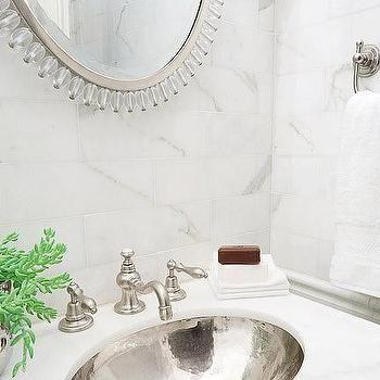 Hammered Silver Sink Transitional Bathroom Erik Goldstein Photography