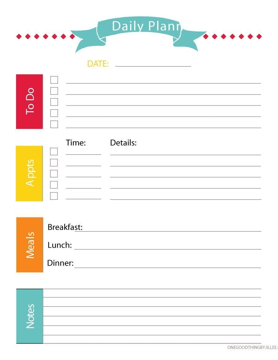 Printable Daily Weekly Planner Cute Printable Daily Planner 2018