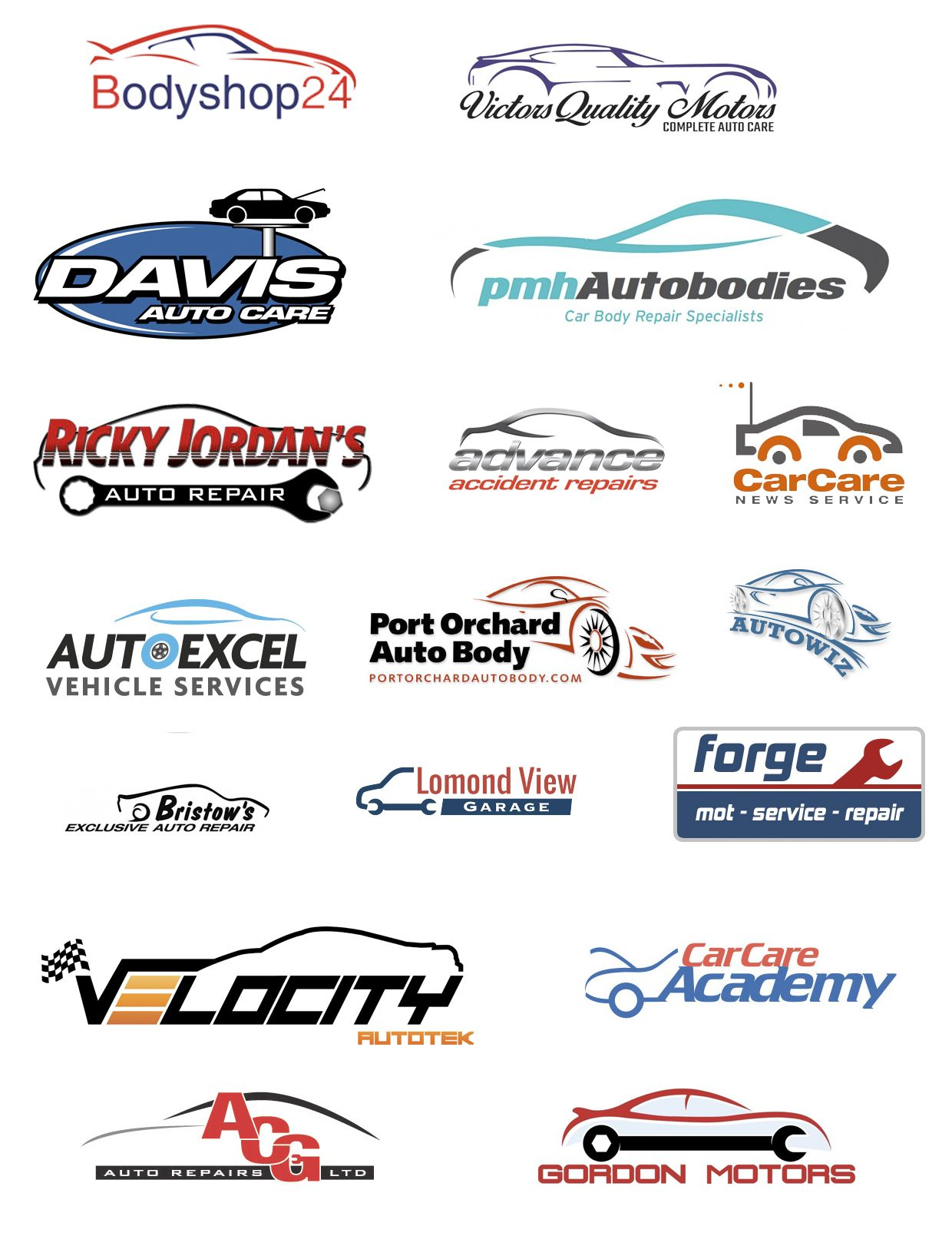 Logos for auto repair companies Автомобили логотипы