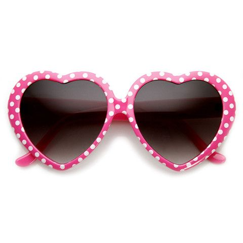 3063bfbda0b3 Womens Cute Polka Dot Heart Shaped Fashion Sunglasses - 8982 - By: zeroUV -  $9.99 USD - Color: Pink White Dots