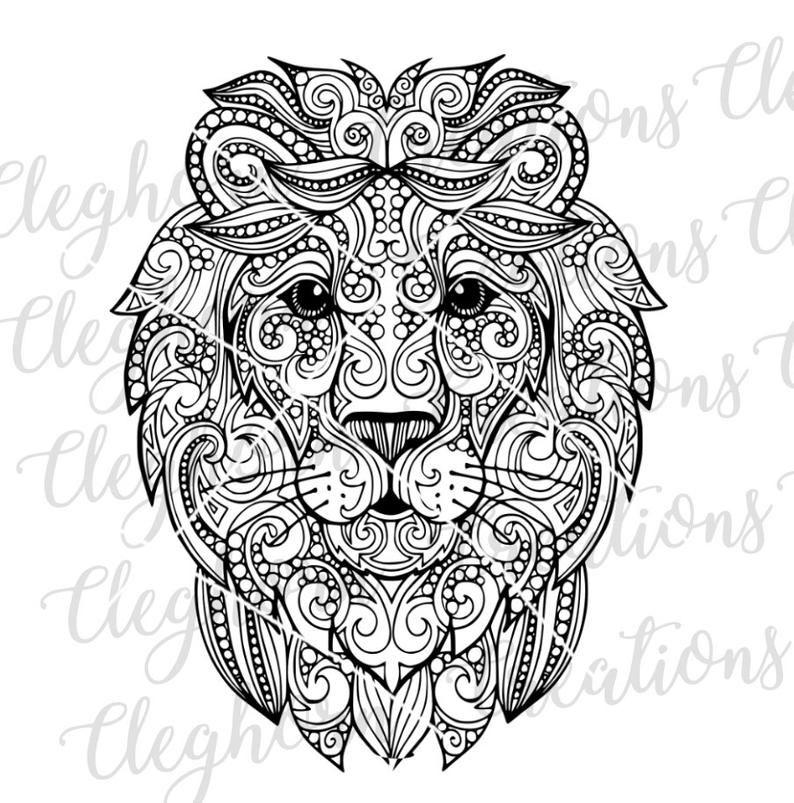 Download Mandala SVG Zentangle Clipart Lion Vector Mandala wall ...