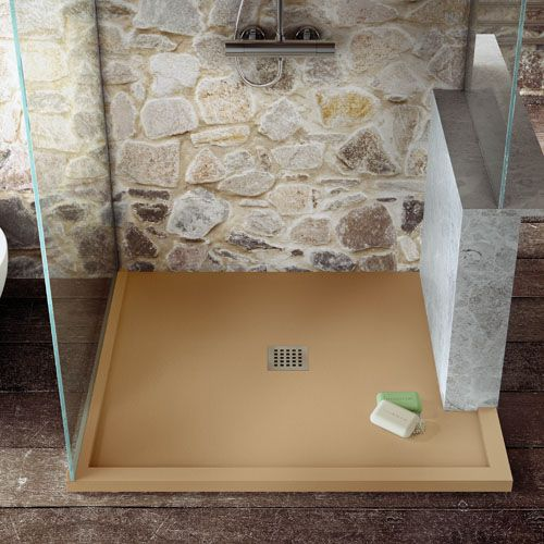 Beau Ultra Slim Custom Made To Measure Shower Tray With Cut Away Side For Dwarf  Wall In SANDSTORM Colour