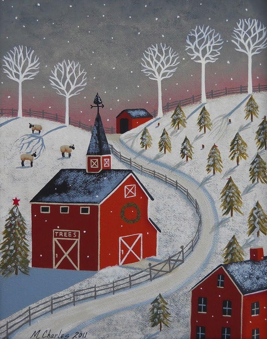 Little Christmas Tree Farm Christmas Art Folk Art Painting Art Painting