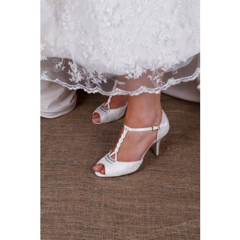 Hazel By The Perfect Bridal Shoe Company Lace Vintage Ivory T Bar Wedding Or Occasion