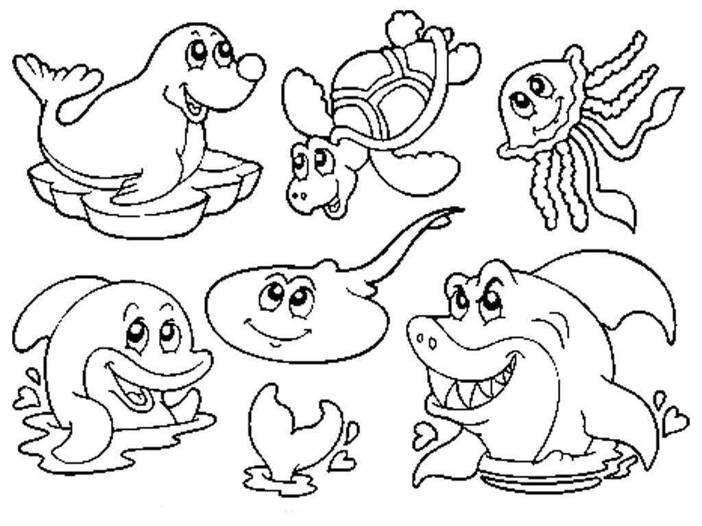 Dibujos de animales marinos para colorear, pintar, imprimir