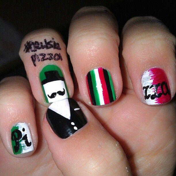 French/Italian nails | Nail art | Pinterest | Mustache nails ...