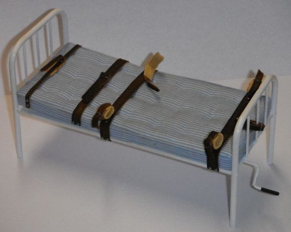 Dollhouse miniature handcrafted Asylum Leather straps Hospital bed Medical 1/12th #miniaturemedical
