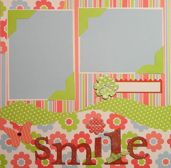Smile  12x12 Premade 2 Page Scrapbook Layout by 2ScrappyGals