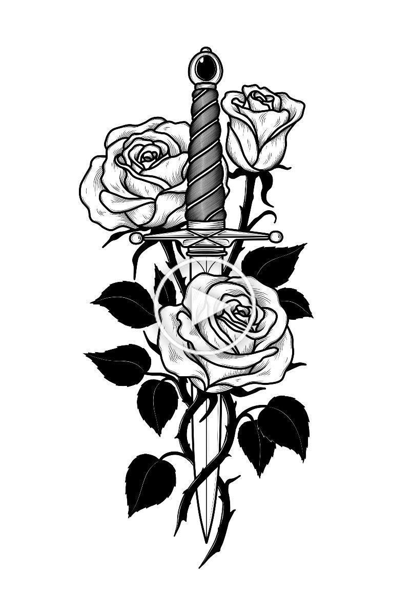 Cuchillo Y Rosas Dagas Tattoo Dibujos De Tatuajes Mangas Del Tatuaje Tradicionales