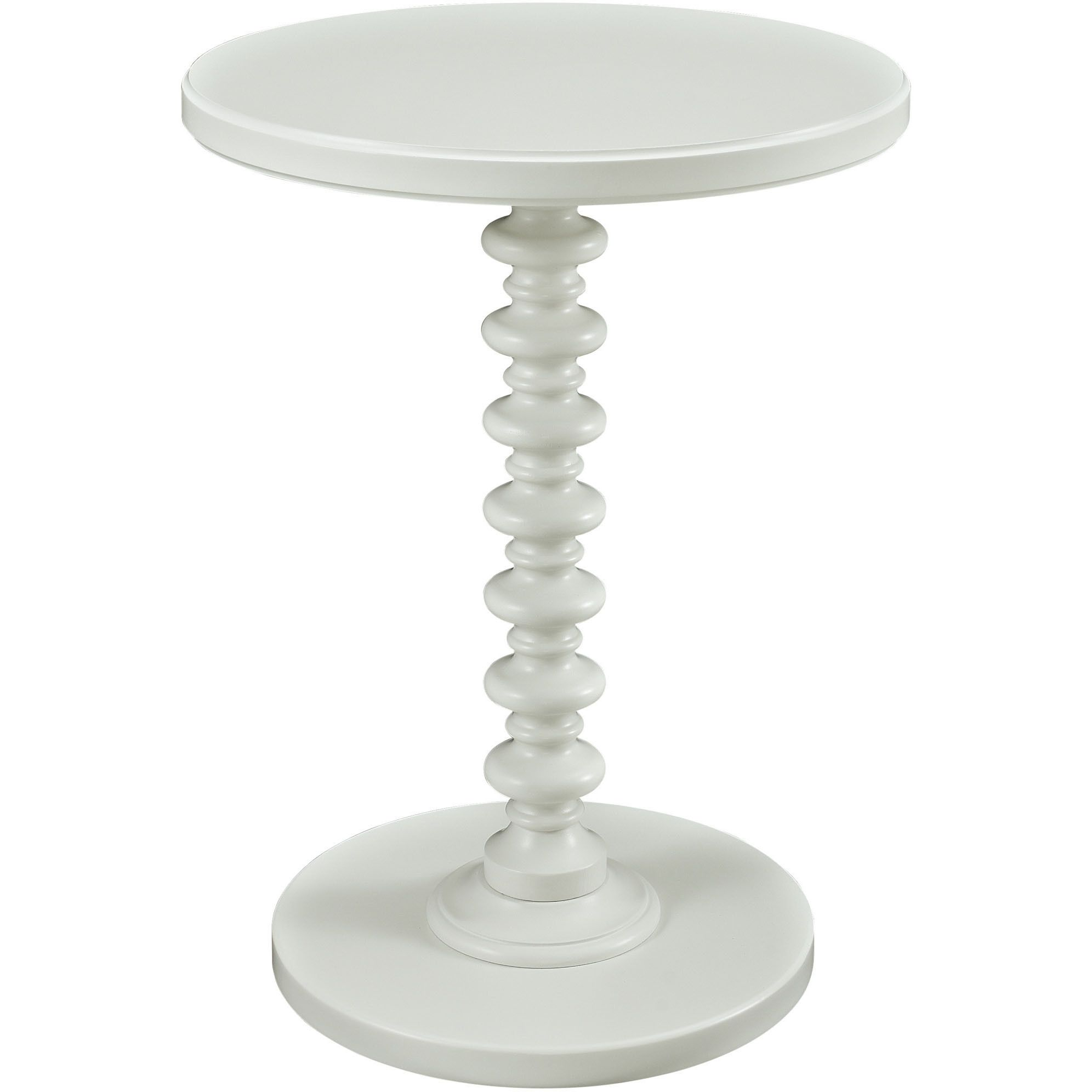 The Powell White Round Spindle Table Features A Bright Smooth Finish And Trendy