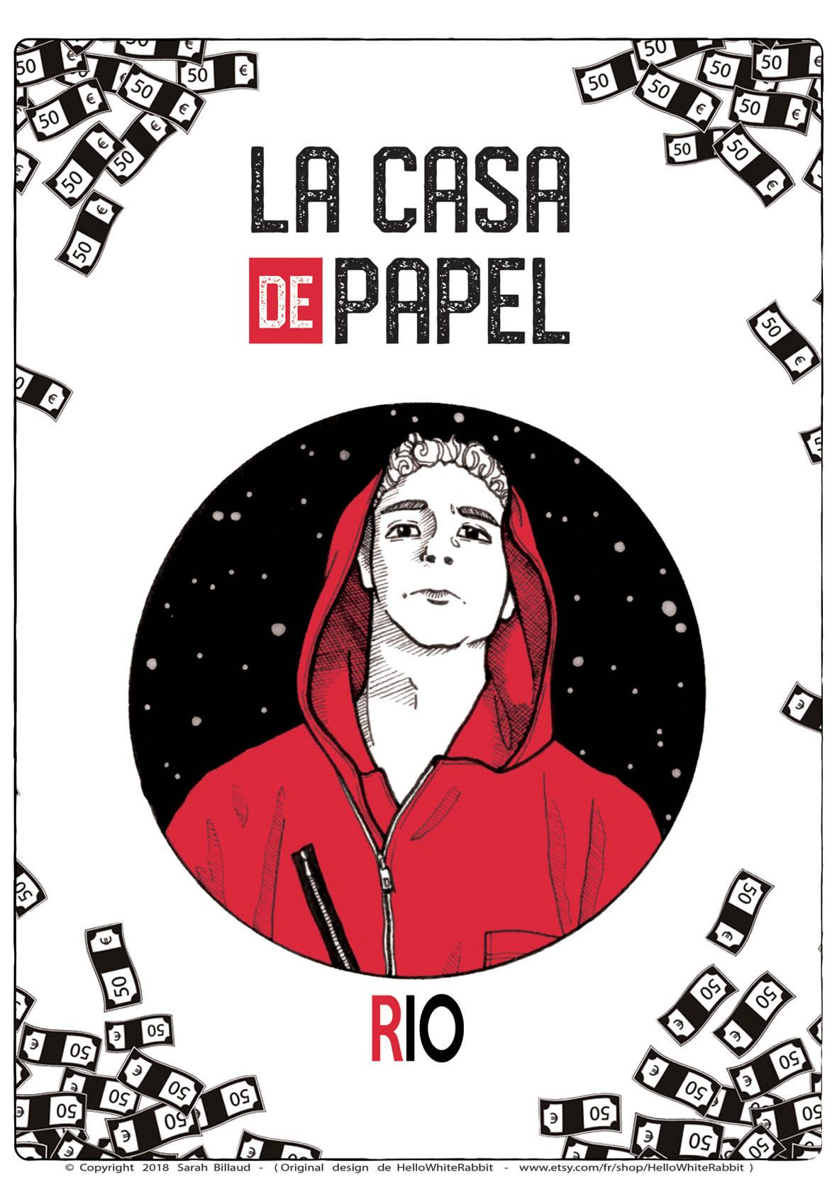 Casa De Papel Rio : papel, Poster, Money, Heist, Papel, Artwork,, Printed, Paper