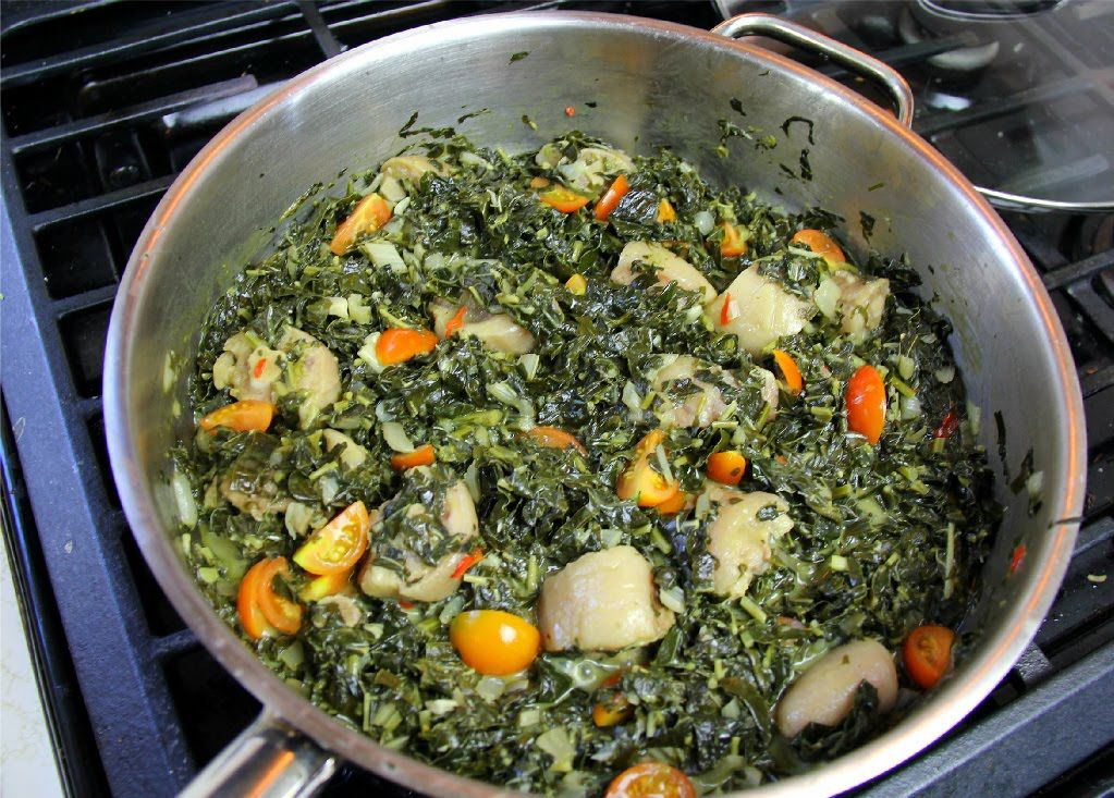 Spinach Stewed with Salted Pigtail and Coconut Milk #tastytuesdays | Car...