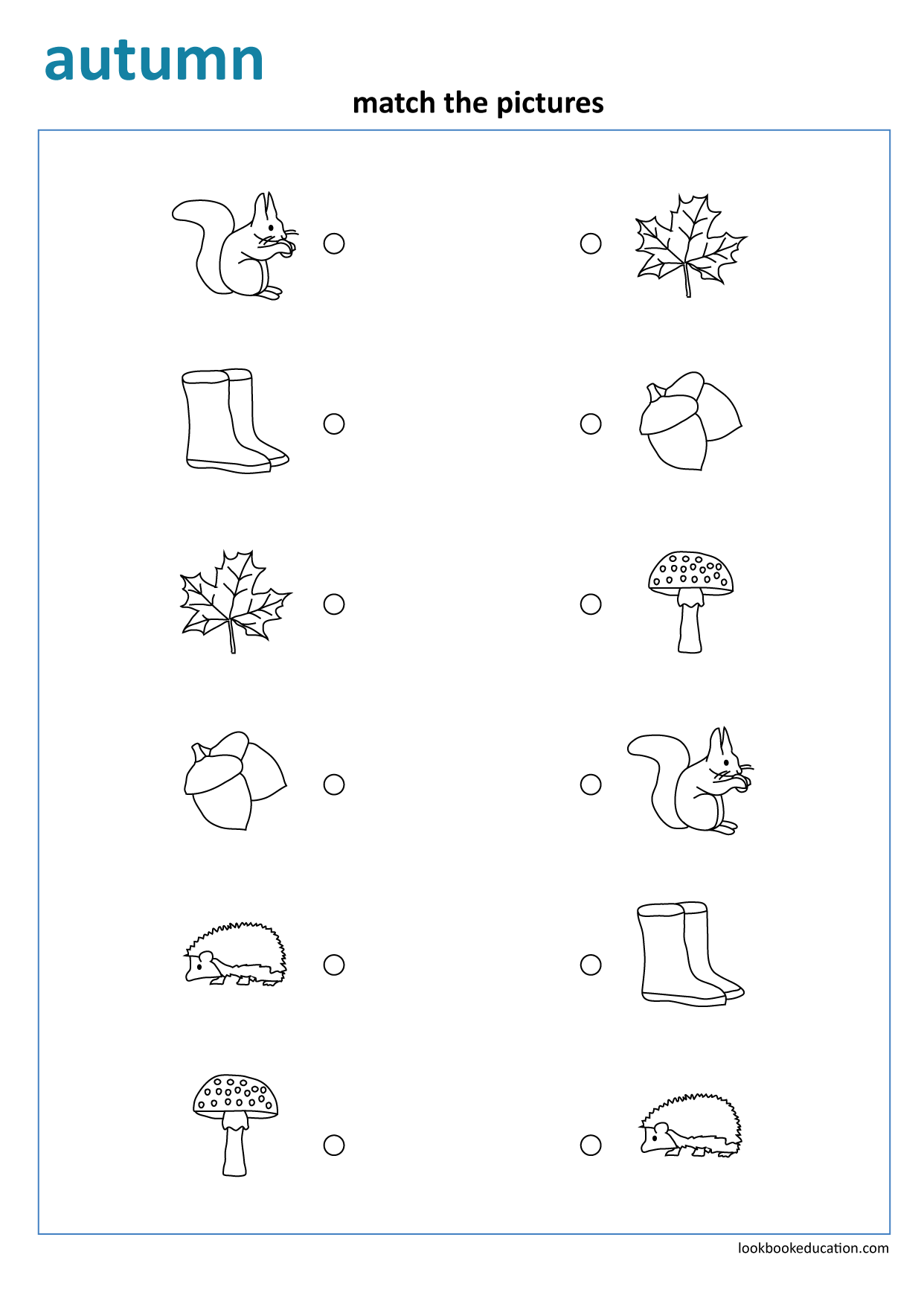 Worksheet Matching Autumn In