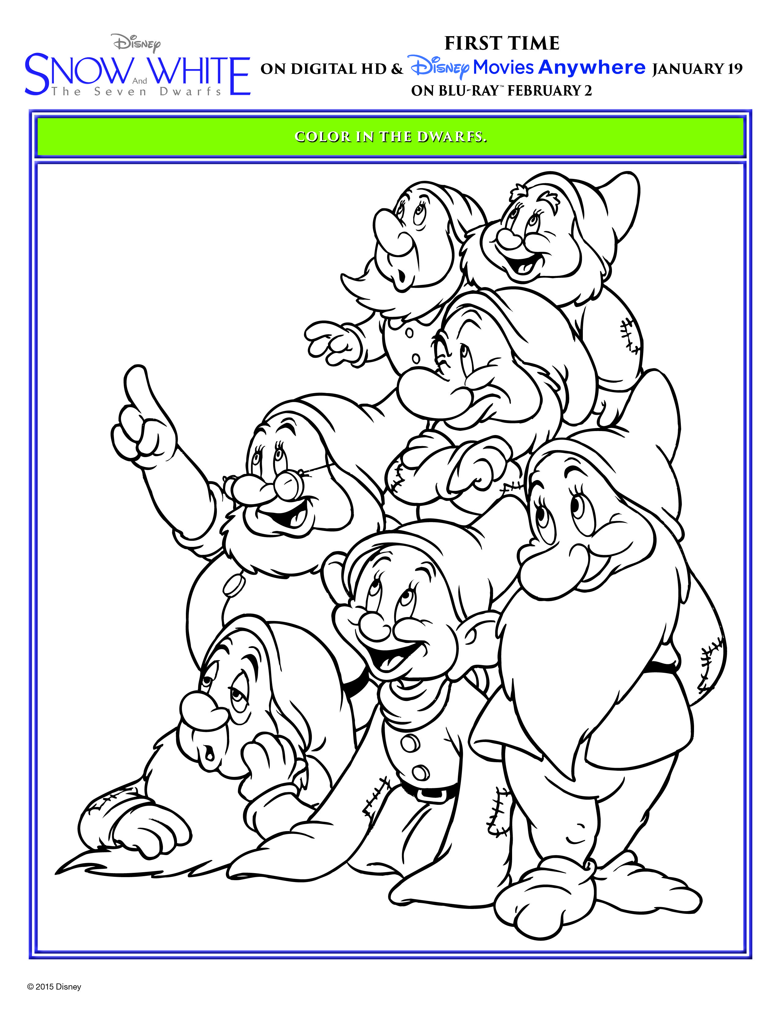 It S Off To Work You Go With This Snow White And The Seven Dwarfs Coloring Sheet Get Snow White And The Seven Dwarfs On Dibujos Garabateados Dibujos Pinturas