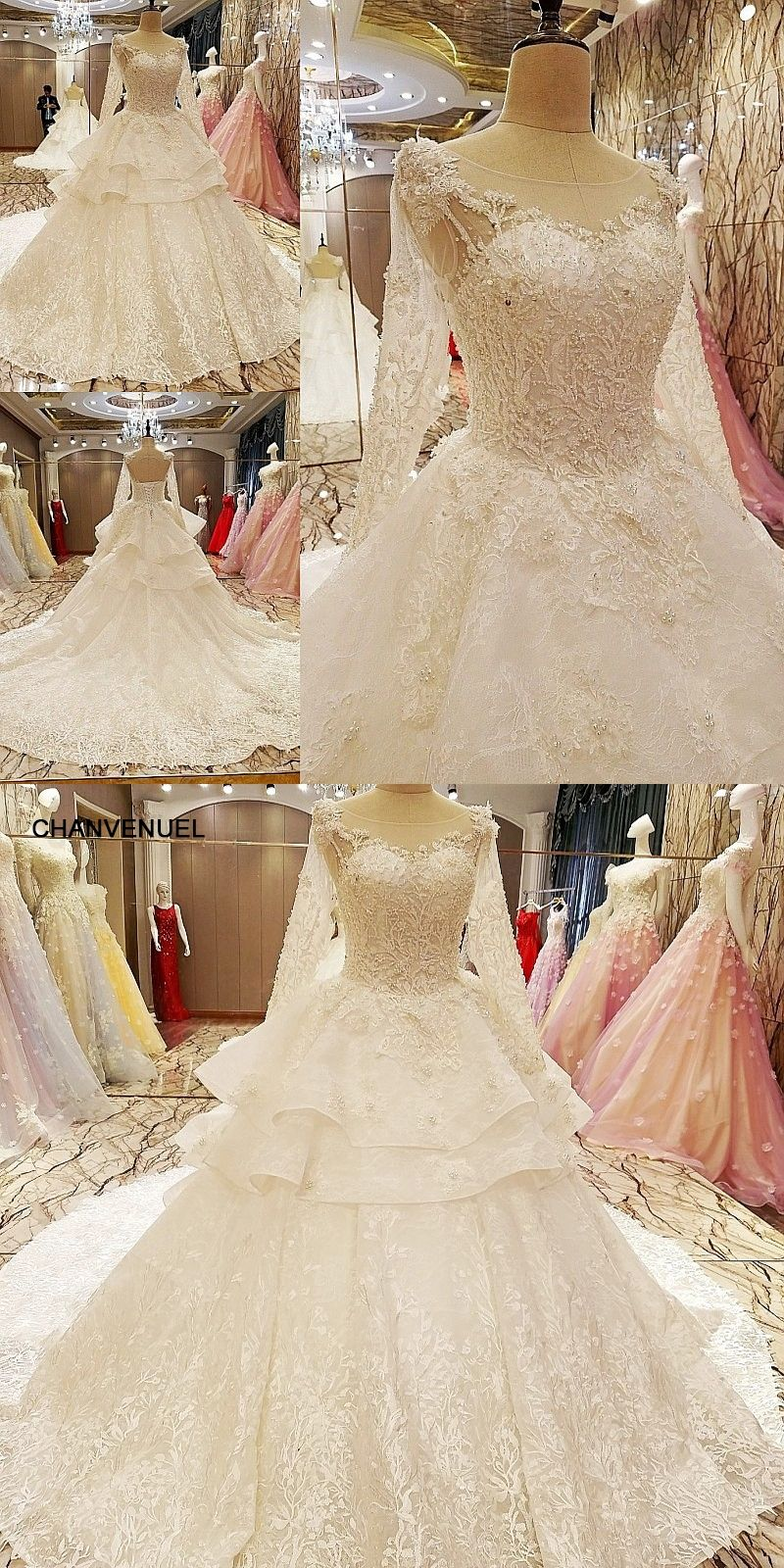 Ls robe de mariage lace up back floor length ball gown