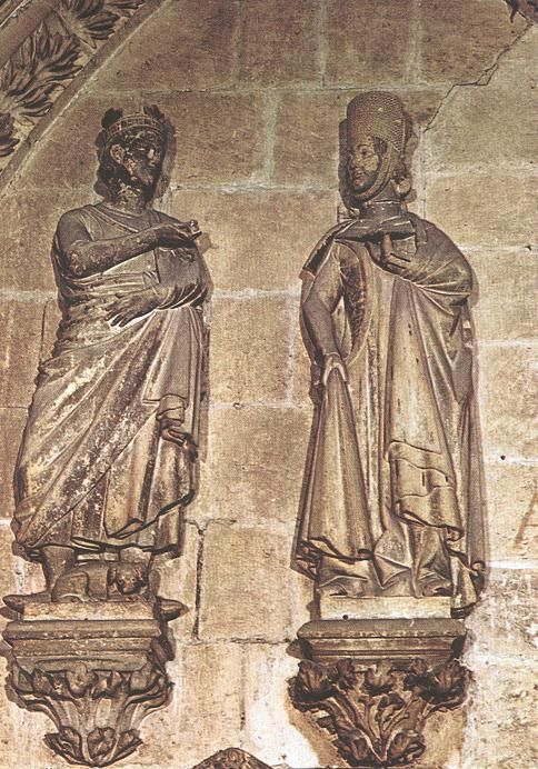 Gothic Sculptor, Spanish. Alfonso X and Dona Violante. 1260-70. Cloister of the Cathedral, Burgos.