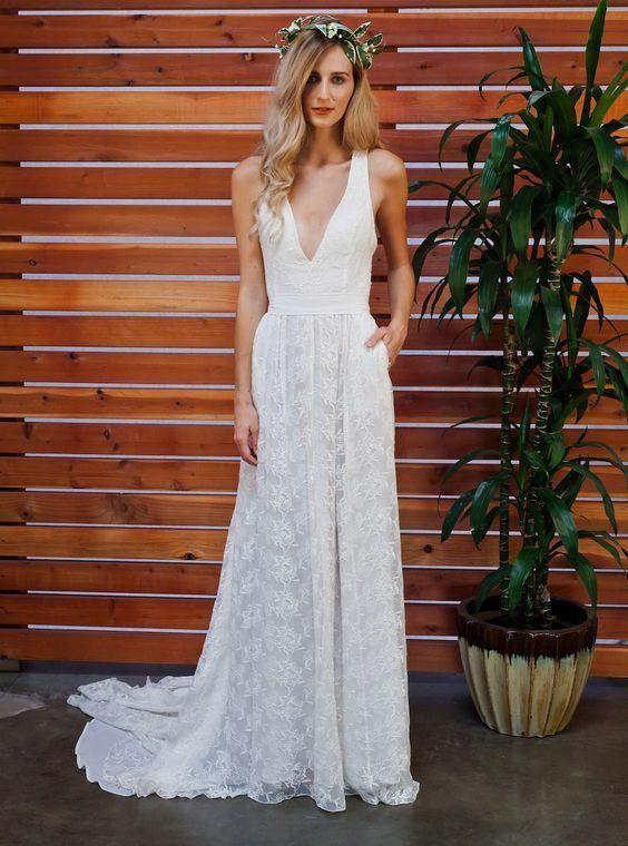 ca607269151 Sleeveless Simple Lace Wedding Dresses V Neck Summer Beach Wedding Dresses