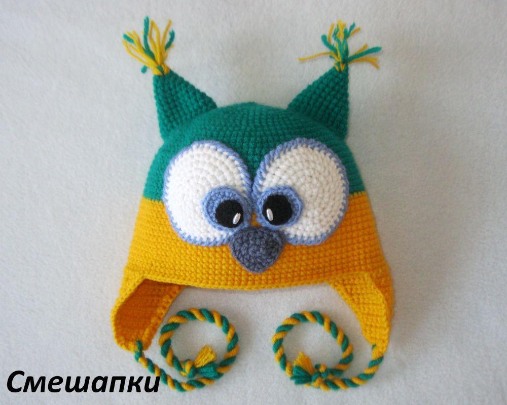 схемы вязания детской шапки в форме совенка