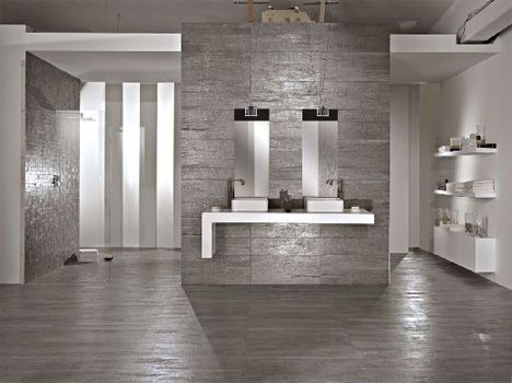 gray wood tile floors |  wood hues to striking, shiny grey that