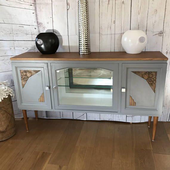 Furniture Sideboard Revisited 1940s Vintage Grey And Natural Mobilier De Salon Meubles Art Deco Et Meuble Vintage
