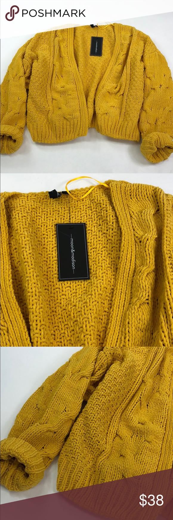 Moon Madison Mustard Yellow Cable Knit Cardigan Nwt My Posh