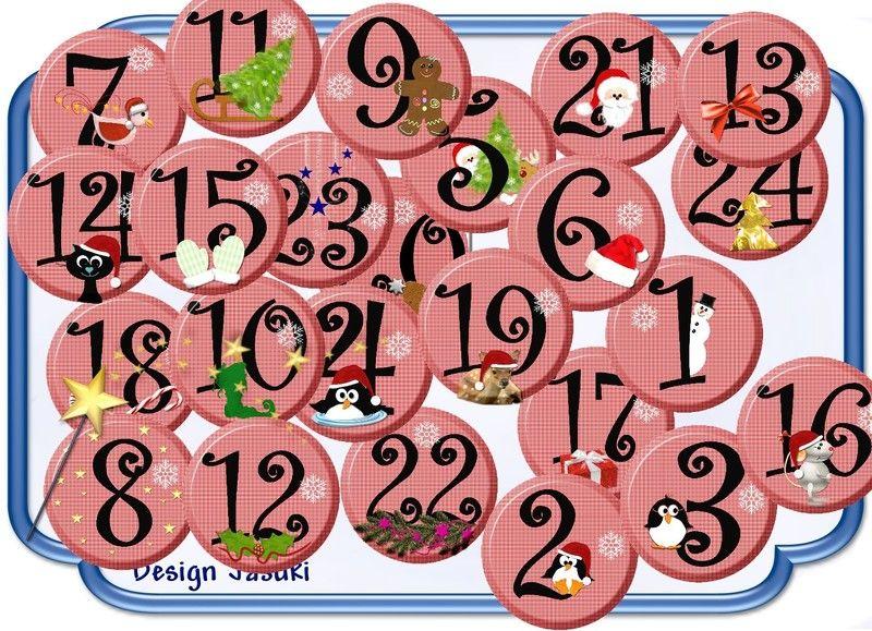 24 Button Zahlen für Adventskalender weiß rot  von Jasuki auf DaWanda.com