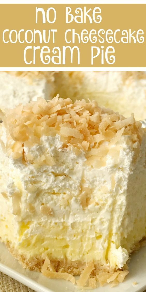 Coconut Cheesecake Cream Pie is part of Coconut cheesecake - Coconut cream pie with a cheesecake twist  Easy and simple thanks to the coconut pudding mix and Nilla wafer crust  It's a no bake pie s