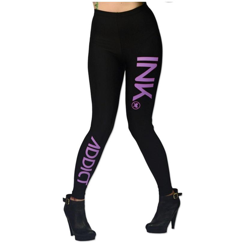 Women's INK Black/Lavender Leggings by InkAddict