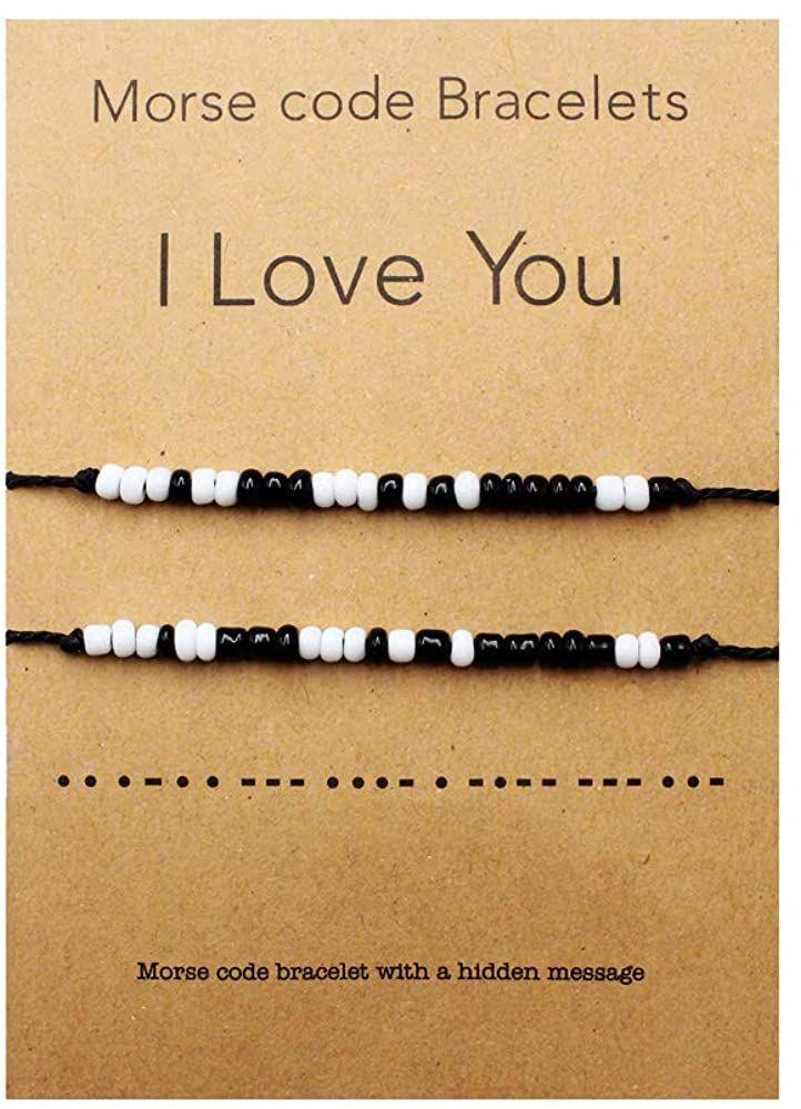 Amazon.com: QianCraftKits I Love You Morsecode Armband Paare Passende Armbänder für Sie und Ihn Freund und Freundin Mutter und Tochter Set von 2 Armbändern, Glasperlen.: Jewelry
