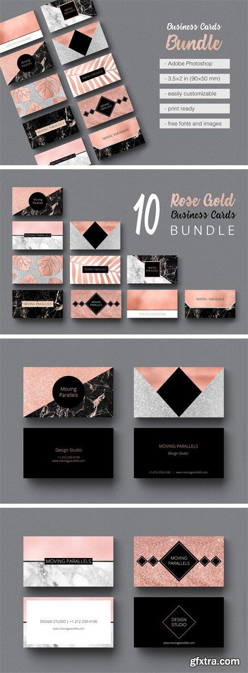 Cm 1559268 rose gold business cards bundle gfxtra pinterest cm 1559268 rose gold business cards bundle reheart Images