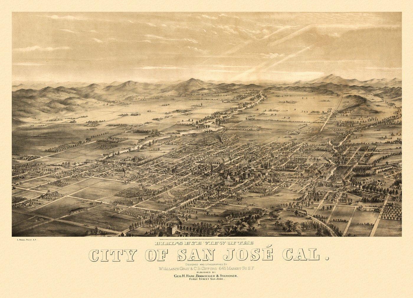 Historic Map of San Jose California 1869 Santa Clara County Poster