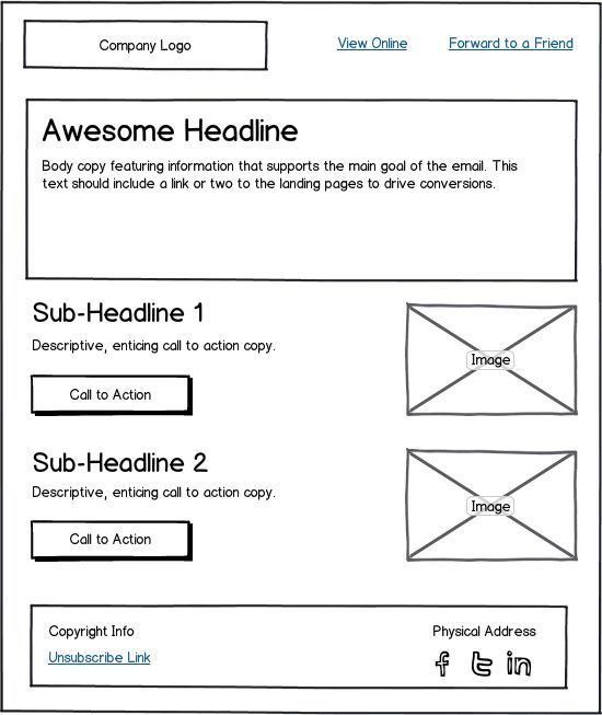 Email Marketing Template Layout Example #infographic Wireframe - marketing strategy template