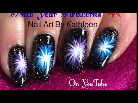 New Year Nails Fireworks Freehand Nail Art Tutorial Youtube