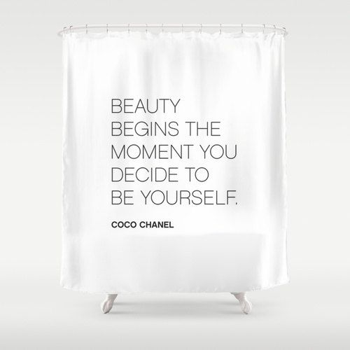 6 Colours, Coco Chanel BE YOURSELF Quote Shower Curtain
