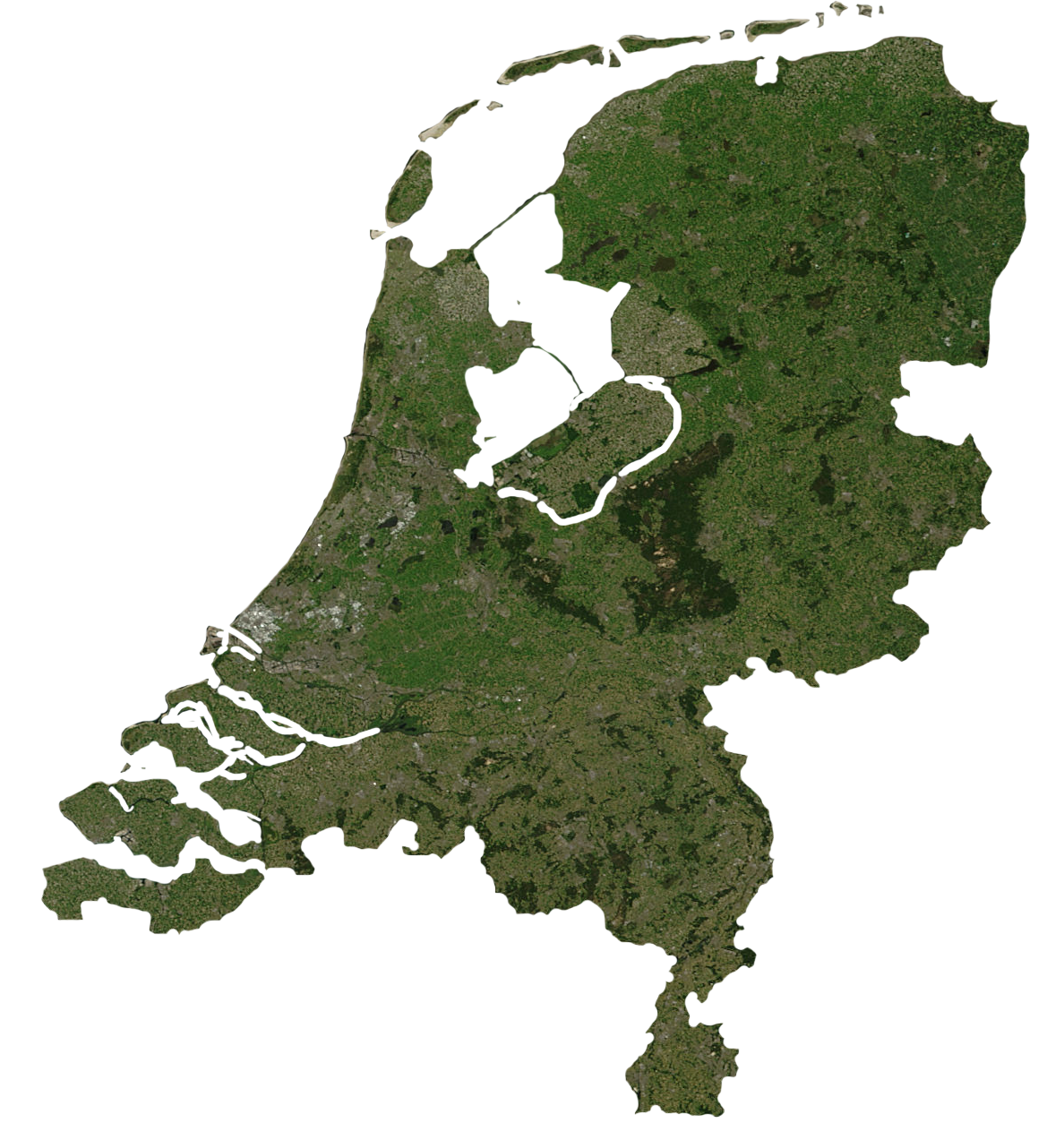 Satellite map of The Netherlands Satellite map