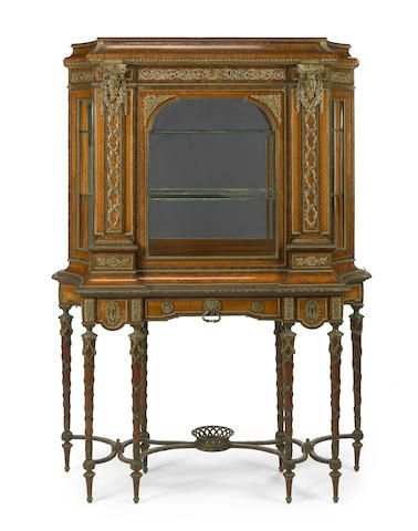 A Louis XVI style gilt bronze mounted satinwood, kingwood and