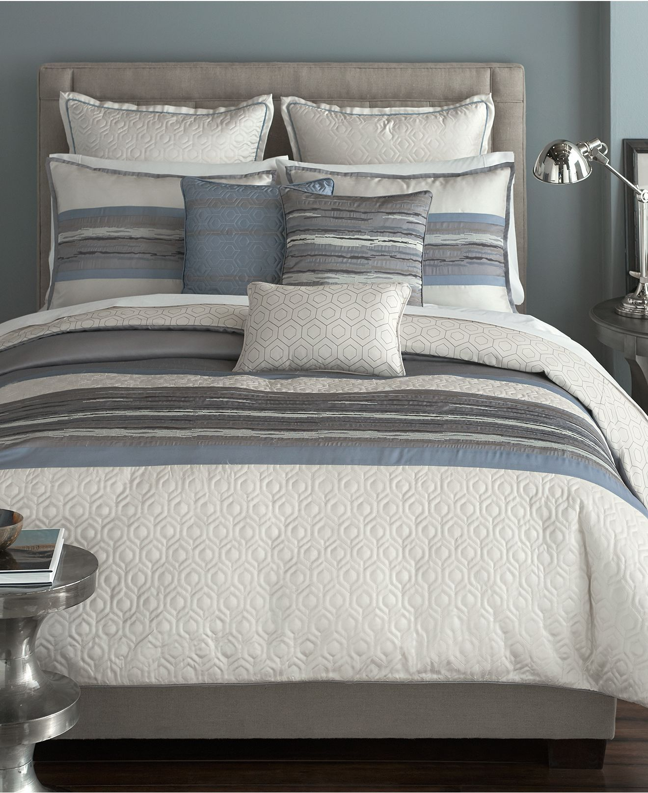 Love This For Staging Gender Neutral Bedding In Blues And Grays