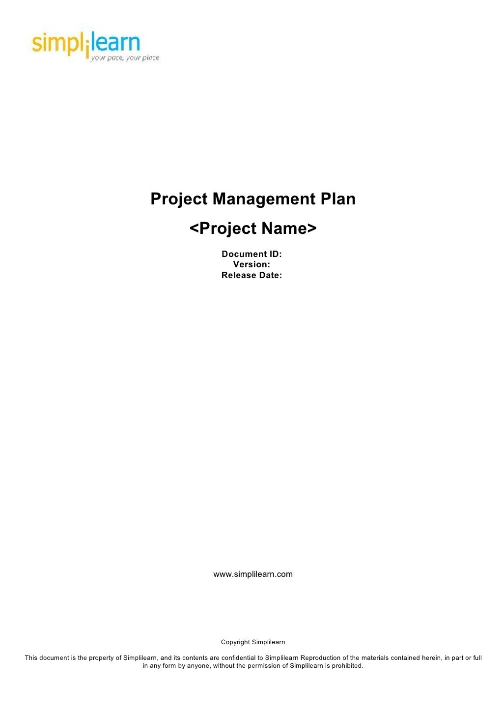 Project Management Plan Template  Work  Project