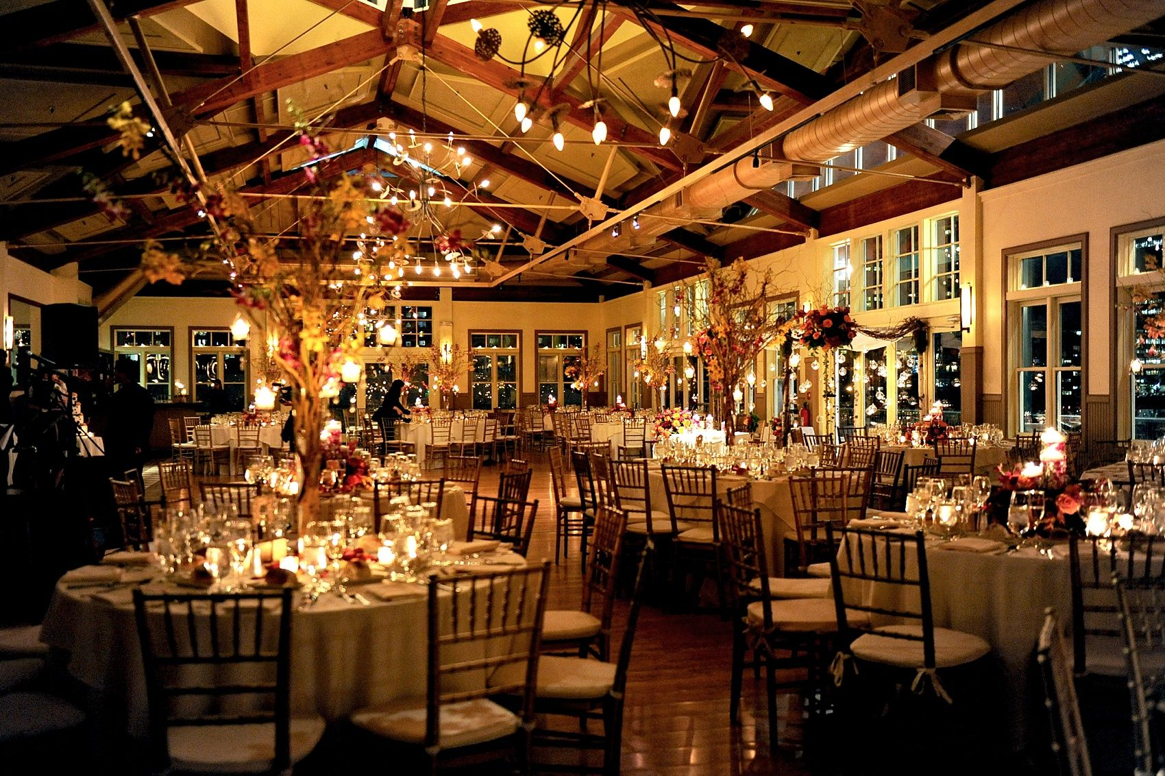 Beautiful night time reception room set up, complete with ...