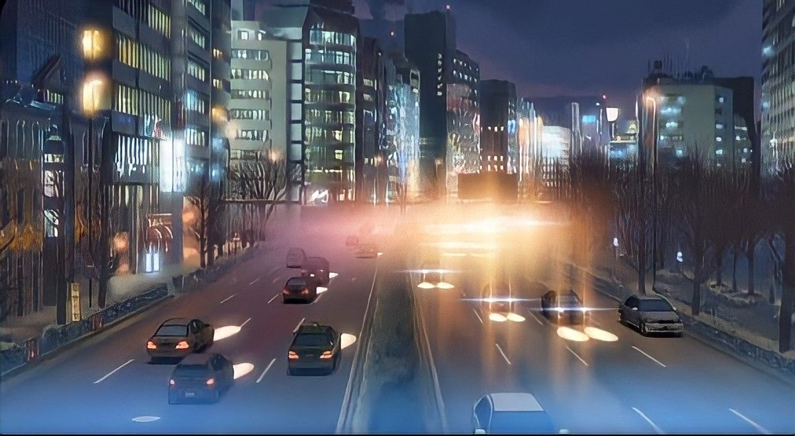 City night anime scenery wallpaper