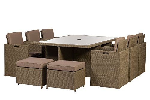 Royalcraft Jumeirah 10 Seater Cube Wicker Set including cushions ...